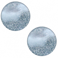 12 mm flach Polaris Elements Cabochon Stardust Powder blue
