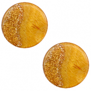 12 mm flach Polaris Elements Cabochon Stardust Caramel yellow