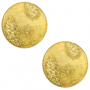 12 mm flach Polaris Elements Cabochon Stardust Gold-mineral yellow
