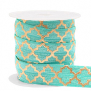 Band Elastisch Moroccan pattern Turquoise-gold