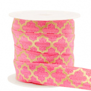 Band Elastisch Moroccan pattern Rouge pink-gold