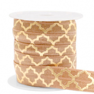 Band Elastisch Moroccan pattern Camel brown-gold