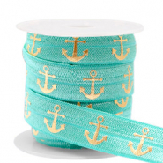 Band Elastisch Anker Turquoise-gold