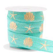 Band Elastisch Shell/Sea Star Turquoise-gold