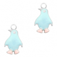 Anhänger Metall Basic quality Pinguin Silber-Light blue pink