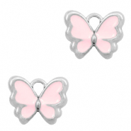 Anhänger Metall Basic quality Schmetterling Silber-Pink