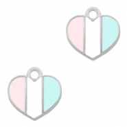 Anhänger Metall Basic quality Herz Silber-Light blue white pink