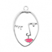 Anhänger Metall Basic quality lined Face pink Lips Silber