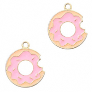 Anhänger Metall Basic quality Donut Gold-rosa