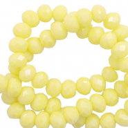 Facetten Top Glas Perlen 6x4mm Rondellen Sunshine yellow-pearl shine coating
