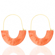 Musthave Ohrringe Resin Living coral red-gold