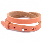 Cuoio Armband 8mm doppel Nubuck Leder für 12mm Cabochon Living coral red