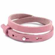 Cuoio Armband 8mm doppel Nubuck Leder für 12mm Cabochon Pressed rose red