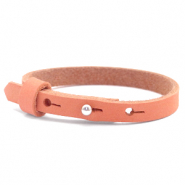 Cuoio Armband 8mm Nubuck Leder für 12mm Cabochon Living coral red