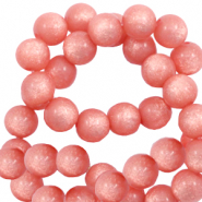 Super Polaris Perle 8mm rund shiny Burnt coral pink