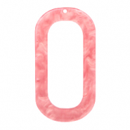 Anhänger aus Resin lang oval 56x30mm Living coral pink