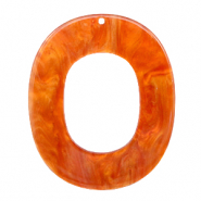 Anhänger aus Resin oval 48x40mm Flame orange
