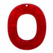 Anhänger aus Resin oval 48x40mm Cherry red