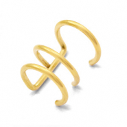 Stainless Steel - Rostfreiem Stahl Ohrringe Ear Cuffs Triple Gold