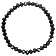 Top Facetten Glas Armband 6x4mm Jet black-pearl shine coating
