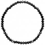 Top Facetten Glas Armband 4x3mm Jet black-pearl shine coating