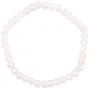 Top Facetten Glas Armband 6x4mm Light lavender pink opal-pearl shine coating