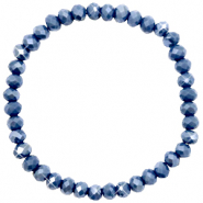 Top Facetten Glas Armband 6x4mm Crown blue-pearl shine coating