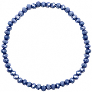 Top Facetten Glas Armband 4x3mm Crown blue-pearl shine coating