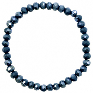 Top Facetten Glas Armband 6x4mm Dark blue-pearl shine coating