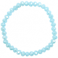 Top Facetten Glas Armband 6x4mm Light blue-pearl shine coating