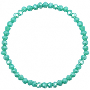 Top Facetten Glas Armband 4x3mm Turquoise green-pearl shine coating