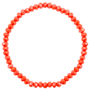 Top Facetten Glas Armband 4x3mm Coral red-pearl shine coating