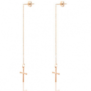 Stainless Steel - Rostfreiem Stahl Ohrringe Cross Rosegold