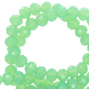 Facetten Top Glas Perlen 4x3mm Rondellen Green opal-pearl shine coating
