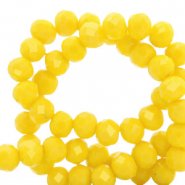 Facetten Top Glas Perlen 4x3mm Rondellen Vibrant yellow-pearl shine coating