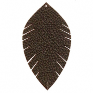 Anhänger Imi Leder Blatt large Dark chocolate brown