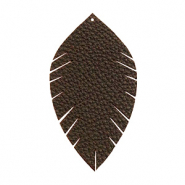 Anhänger Imi Leder Blatt medium Dark chocolate brown