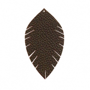 Anhänger Imi Leder Blatt small Dark chocolate brown
