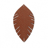 Anhänger Imi Leder Blatt small Chocolate brown