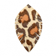 Anhänger Imi Leder Blatt medium Leopard Beige-red brown