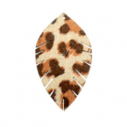 Anhänger Imi Leder Blatt small Leopard Beige-red brown