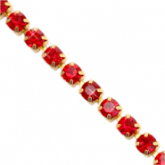 Strass Kette Siam red-gold
