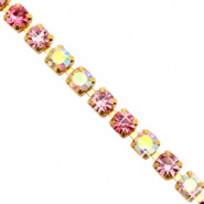 Strass Kette Pink crystal AB-gold