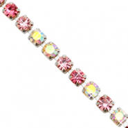 Strass Kette Pink crystal AB-silver