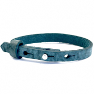 Cuoio Armband Leder 8 mm für 12 mm Cabochon Blue wing teal
