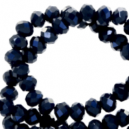 Facetten Top Glas Perlen 4x3mm Rondellen Dark blue-pearl shine coating