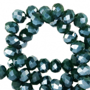 Facetten Top Glas Perlen 4x3mm Rondellen Eden green-pearl shine coating
