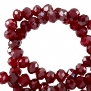 Facetten Top Glas Perlen 8x6mm Rondellen Salsa red-pearl shine coating