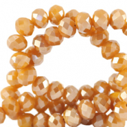Facetten Top Glas Perlen 4x3mm Rondellen Bleached apricot orange-pearl shine coating