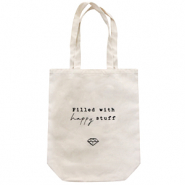 "Trendy Tasche Canvas ""filled with happy stuff"" Off white"